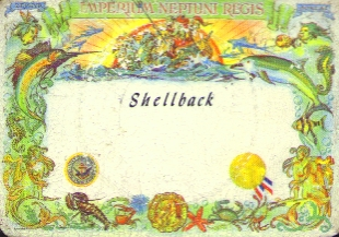 Shellback Certificate for Crossing the Equator